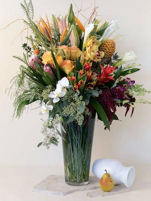 Fall Colored Vase Arrangement