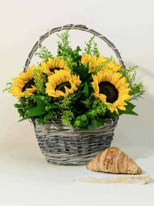 Basket of Sunny Sunflowers