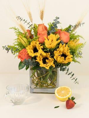 Orange Roses Lilies & Sunflowers