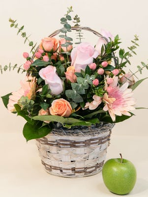 Pink Basket of Gerberas & Roses